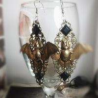 Adora brass bat and vintage gem earrings