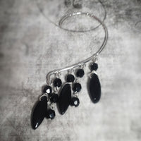 Behind The Ear Obsidian Stone Chandelier