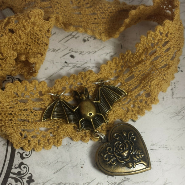 Brass Bat Lace Locket Choker