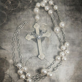 Extra Long Hand Painted Bat Cross Necklace With Crystal Pearls