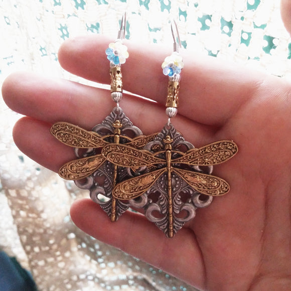 Gold Plated Filigree Dragonfly Earrings Handmade
