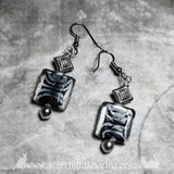 Art Deco White Tiger Print Glass Cat Bead Earrings