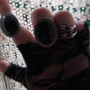 Gothic Black Gem Adjustable Ring