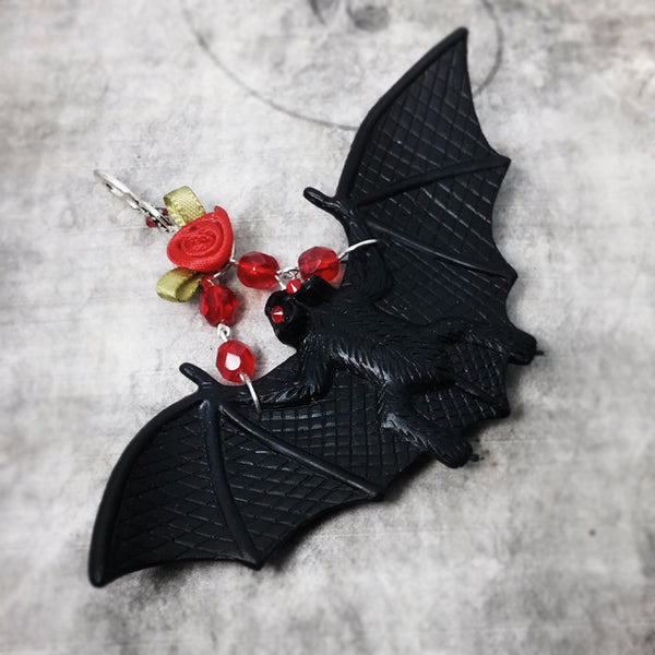 Handmade Bat Tree Ornament Black And Red