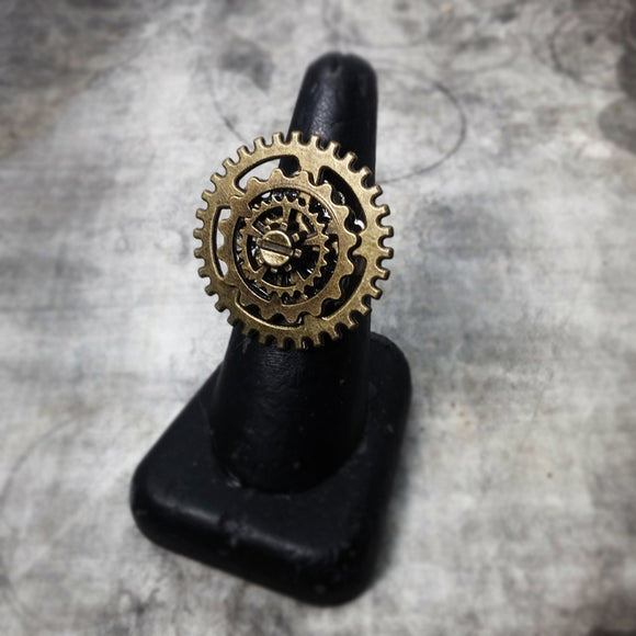 Steampunk Cog Wheel Adjustble Ring
