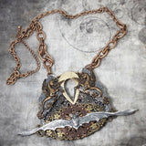 Steampunk Fantasy Mixed Media Epic Bat Necklace