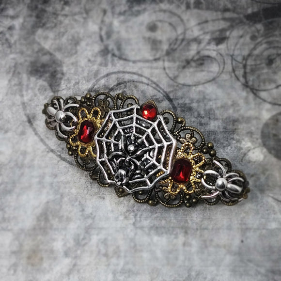 Spider Queen Red Gem Barrette
