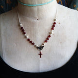Garnet Bat Cross Necklace 18inch