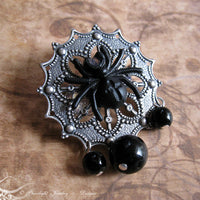 Spidaris Black Lego Spider Filigree Brooch/Bag Pin