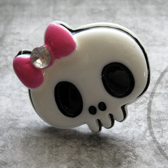 Lolita Cyber Goth Monster High Skull Bow Rings