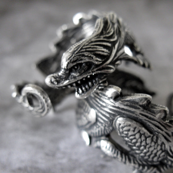 Shenron Silver Plated Steel Asian Dragon Ring