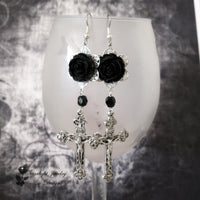 Requiem Black Rose Crucifix Cross Earrings