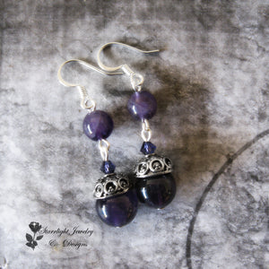 Amethyst Crystal Capped Gemstone Earrings