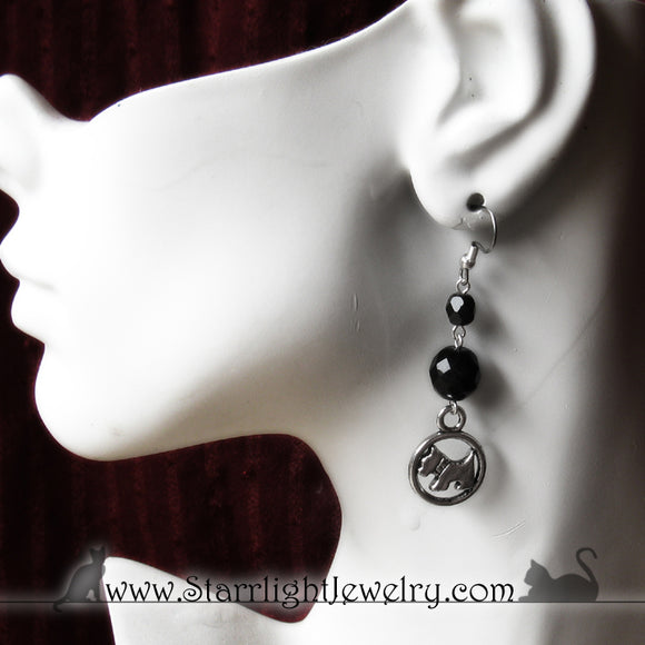 Silver Scotty Earrings on Surgical Stainless Steel Earring Wires