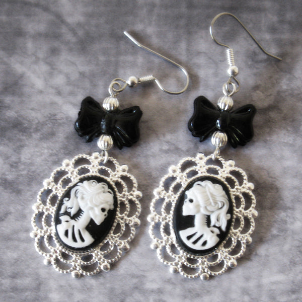 Dia de los Muertos Victorian Skeletal Woman Cameo Earrings