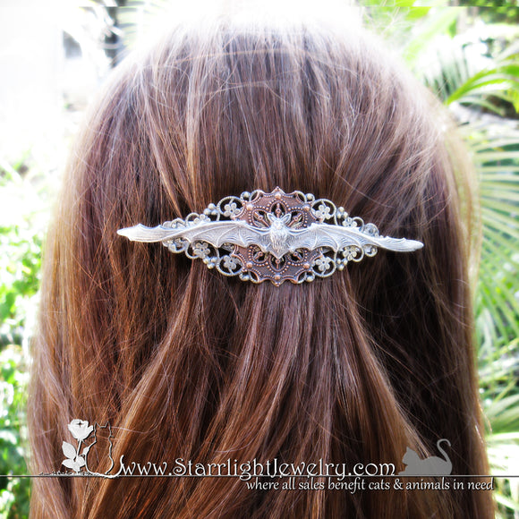 Gothic Victorian Filigree Bat Hair Clip Barrette