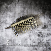 Gothic Victorian Filigree Steel Bat Hair Comb