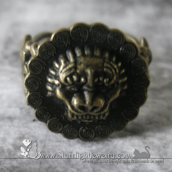 The Brass Lion - Adjustable Filigree Brass Ring