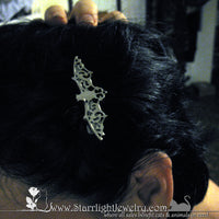 Silver filigree bat hair clip set of 2 left and right
