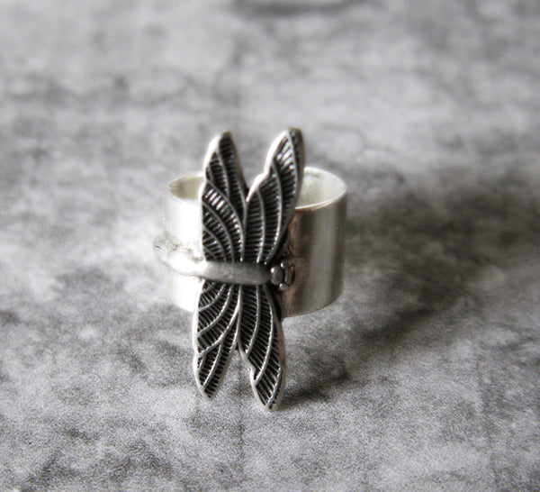 Dragonfly In Flight Adjustable Silver Ear Cuff