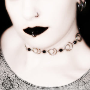 Midnight A Silver And Faceted Glass Choker 11 Color Options