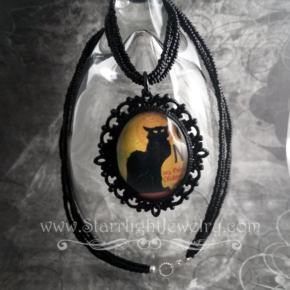 Le Chat Noir Handmade Gothic Lolita Black Cat Necklace