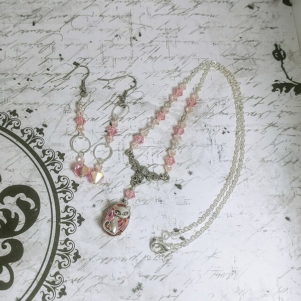Pink Crystal Cat Necklace And Earring Set