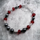 Red And Black Swarovski Crystal And Crystal Pearl Bracelet