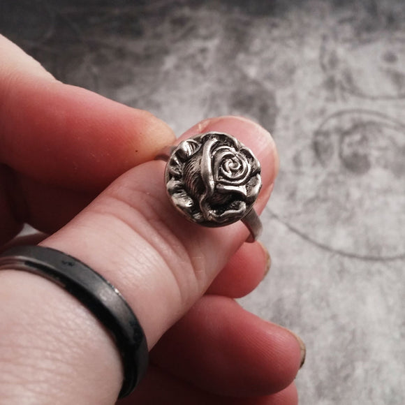 Delicate Lovely Sterling Silver And Stainless Steel Rose Ring
