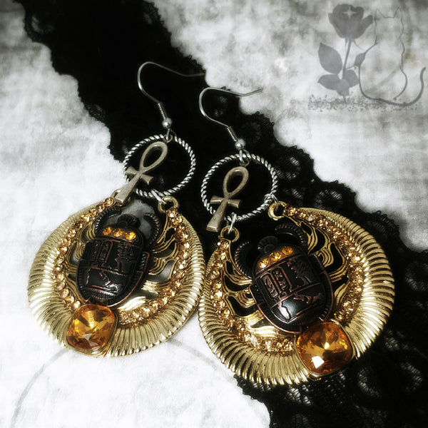 Scarab And Ankh Egyptian Themed Earrings