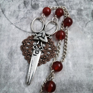 Sew Savvy Seamstress Scissors Filigree And Carnelian Gemstone Necklace
