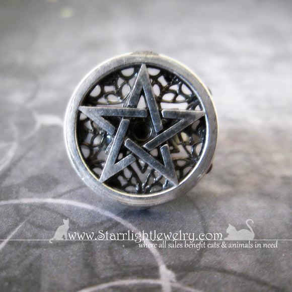 Simple Silver And Brass Pentacle Filigree Ring