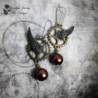 Bronze Steampunk Gear Wheel Wing Earrings
