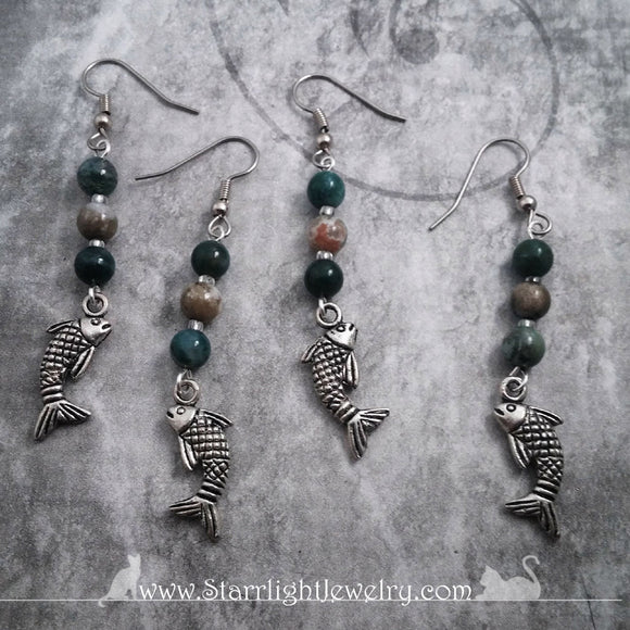 Leaping Trout Jasper Stone Earrings