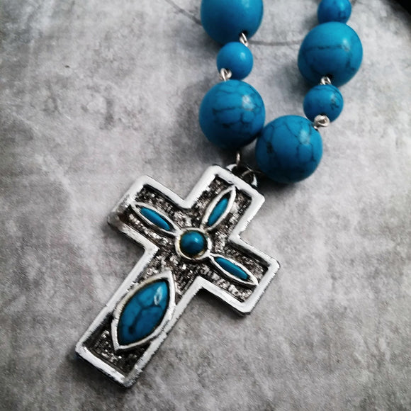 Layering Necklace 30 inch Turquoise Cross Necklace