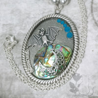 Abalone Bat Moon Necklace