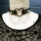 Faux Leather Bat Heart Choker