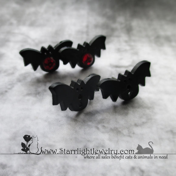 Bitty Black Bat Steel Post Earrings