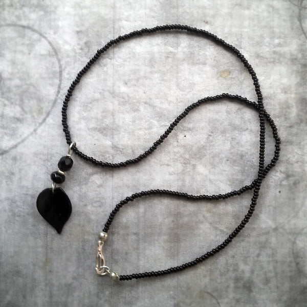 Black Rose Petal Necklace