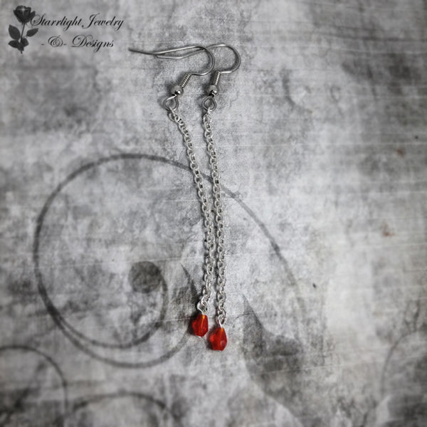 Tiny Drop Of Blood Steel Chain Earrings