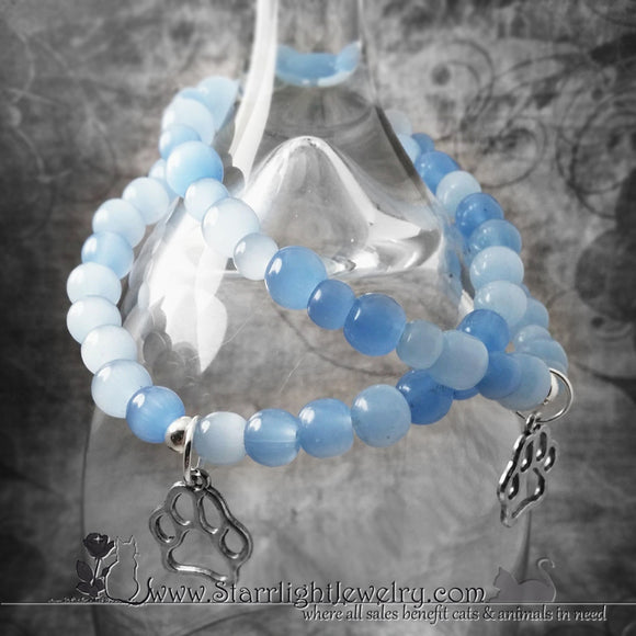 Paw Print Blue Glass Stretch Bracelet