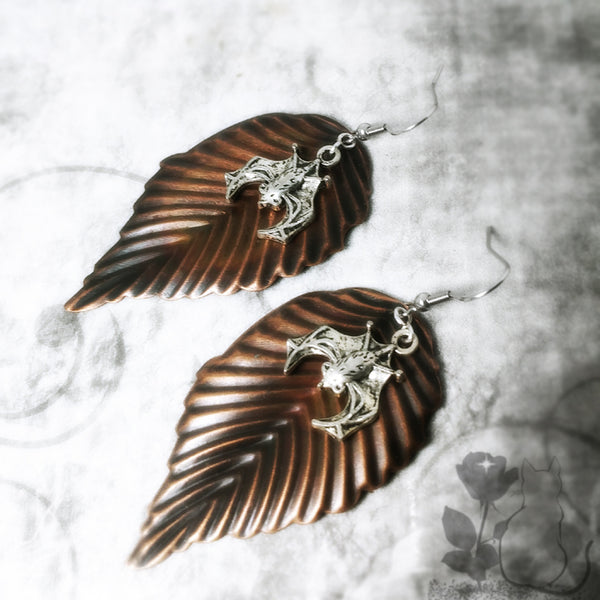Brass Leaf Bat Earrings