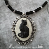 White And Black Cat Bat Hand Beaded Necklace Gothic Jewelry