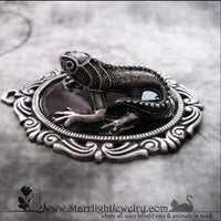 Handpainted Black And Silver Chameleon Necklace Pendant