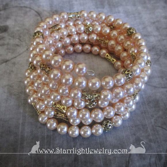 Swarovski Crystal Pearl And Brass Wrist Wrap