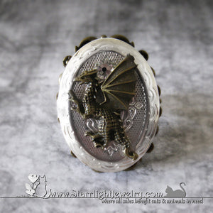 Brass Dragon And Silver Locket / Poison Ring