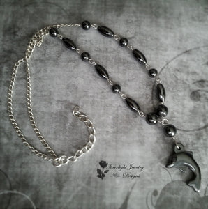 Hematite Dolphin Hand Beaded Gemstone Necklace