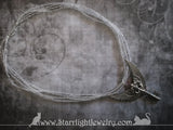 Key Wing 4 Strand Silver Steampunk Necklace