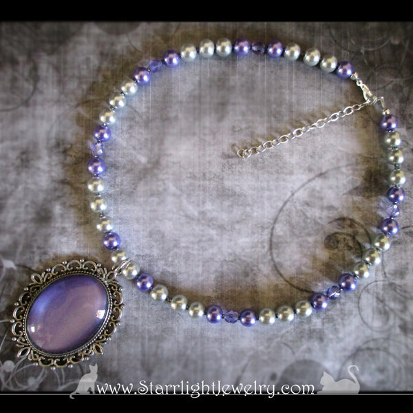 Mystic Purple Crystal And Pearl Beaded Necklace