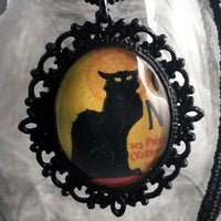 Le Chat Noir Handmade Gothic Lolita Black Cat Pendant or Brooch